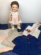 """13"""" Vintage American Character Tiny Tears Baby Doll Original Dress Rubber Body L"""