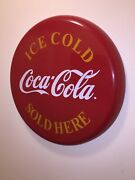 1968-1973 24andrdquo Ice Cold Coca Cola Sold Here Button Sign Authentic Excellent Cond