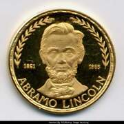 1970 Eq. Guinea Pf64 Ultra Cameo Proof Gold President Abe Lincoln 500 Ps Fab