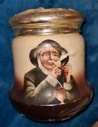 Antique Porcelain Tobacco Jar Pipe Humidor With Gold Lidded Victorian Old Man 7