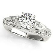 Round 0.70 Ct Real Diamond Women Engagement Ring Solid 950 Platinum Size 7 8 9