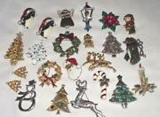 Vintage To Newer Christmas Jewelry Brooch Lot. Signed And Unsigned Beauties. 331