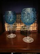 Two Hand Etched Blue Wine Glasses Crystal Michael Weems Original Signed