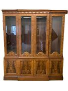 Councill Craftsmen Highly Inlaid Flame Mahogany Breakfront
