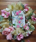 Amazing Grace Yellow Plaid Gold Foil Deco Mesh Wreath 18inch With Pink Gladiolas