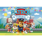 Paw Patrol Chase Personalised Birthday Party Banner Backdrop Background