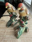 Chelsea House Style Set Of 2 Hand Painted Bird Porcelain Figurines Figures