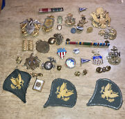 Estate Lot Mixed Old Vintage And Antique Military Pins And Badges 35 Pieces As Is