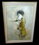 1970 Hawaii Oil Painting Young Chinese Boy And Dove By John Chin Young Zik