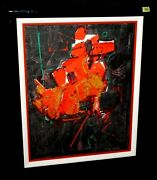 And03980s Hawaii Abstract Oil Painting Red On Black By John Chin Young Ish42