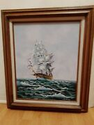 Oraginal Oil Painting Sailing Boat Signed By J King .