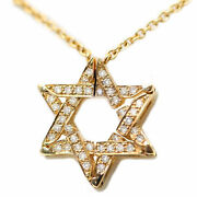 14k Yellow Gold Star Of David Jewish Necklace Butterfly Diamond With Chain 20mm