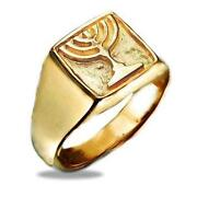 14k Yellow Gold Jewish Ring Israel Symbol Menorah Carved-out Signet Square 12mm