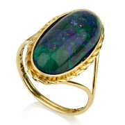 14k Yellow Gold Azurite Ring Twisted Border Split Band Oval Domed Polished 13mm