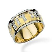 14k Two Tone Gold Wedding Band Beloved Jewish Ring Domed Letters W Diamonds 10mm
