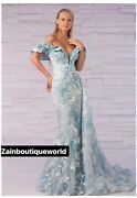 Couture Gown, Size 10 Or 42, Blue, Lebanese, Prom, Long Dress, Formal, Train