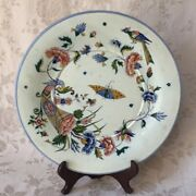 Large Antique French Gien Plate/charger Cornucopia Bird Butterfly Vtg Pottery