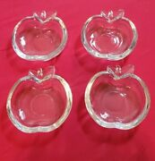 Set Of 4 Glass Apple Shaped Ashtray/nut Tray/ Paperweight Crystal