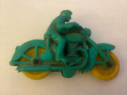 Antique 1950's Auburn Rubber Toys Green Motorcycle W/ Yellow Wheels And Policeman