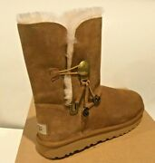 Ugg Bailey Button Charm Suede Sheepskin Boots - Size 7 New