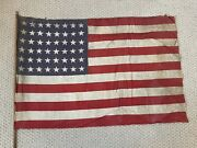 Antique Vintage 48 Star Flag With Wood Pole Us American Flag 🇺🇸 34.5 X 23andrdquo