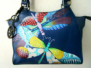 Anuschka Dancing Dragonflies Blue Hand Painted Leather Tote Purse - Nwt