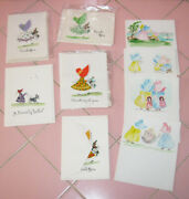 Lot 9 Handmade Note Cards Riede Bonnet Girls Dog Hand Painted Fabric Greeting