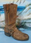 Motorcycle Womens Brown Leather Harness Boots Size 8