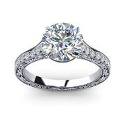 Round 0.85 Ct Real Diamond Engagement Ring Solid 950 Platinum Rings Size 5 6 7 8
