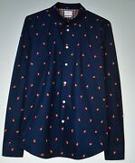 Paul Smith Ps Menand039s Tailored Fit Blue Hands Patterned Shirt S/m