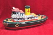 Tin Toy Old Vintage Battery Operate Neptune Boat Ship Toy Made In Japan Px-45