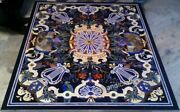 42 X 54 Inches Black Marble Table Top Handmade Dining Table With Pietra Dura Art