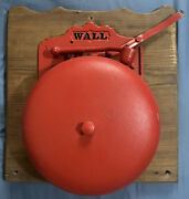 Wall 12 Vintage Hand Manual Cast Iron Boxing Ring - Fire - School Bell