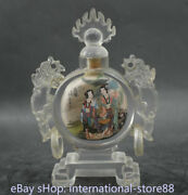 6.4 Old Chinese Glass Inner Painting Palace Belle 2 Dragon Handle Snuff Bottle