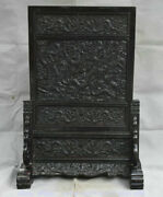 27.2 Old Chinese Ebony Wood Hand-carved 9 Dragon Shelf Luck Folding Screen