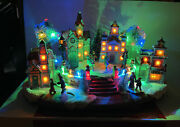 """15-1/2"""" Animated Musical Lighted Victorian Ice Skating Church Christmas Village"""