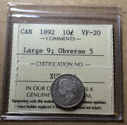 Canada 1892 10 Cents Large 9 Obverse 5 2/1 Variety Iccs Vf20