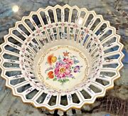 Vintage Dresden Reticulated Bowl With Raised Hand Painted Flowers 11.5 W X 6 H