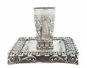 Fine Italian 925 Sterling Silver Handmade Chased Floral Leaf Square Cup And Tray