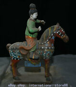 14.4 Old Chinese Tang Sancai Ceramics Pottery Painting Dynasty Knight Sculpture
