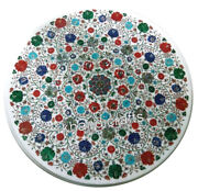 30 Inches Multi Color Flower Art Dinette Table Top Round Coffee Table Home Decor