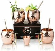 Moscow Mule Mugs 100 Solid Copper Hammered Gift Set Of 4 16oz Straws Shot Glass