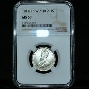 1917-h British West Africa 1 Shilling ✪ Ngc Ms-63 ✪ Choice Unc Bu ◢trusted◣