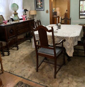 Antique Walnut Dining Room Set 6 Chairs Table Buffet And China Cabinet