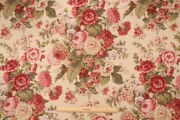 4 Drapes Classic English Roses Waverly Vintage Sitting Pretty Antique Red