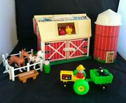 1967 Fisher Price Barn Little People Play Family Farm 915 Tractor Silo Animals
