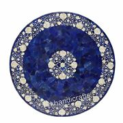42 Inches Lapis Lazuli Random Art Dining Table Top Marble Office Table For Decor
