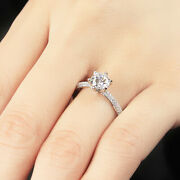 0.85 Ct Real Round Diamond Women Engagement Ring Solid 950 Platinum Size 6 8 9