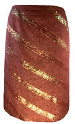 Rayon/cotton/silk Peachy Pink Gold Boucle Skirt Size 38 Us 6 The Rarest