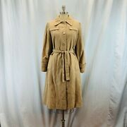 Vintage Velour Lined Tan Womens Trench Coat - 8/10 Large Mother Of Pearl Buttons